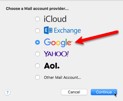 choose mail account provider mac