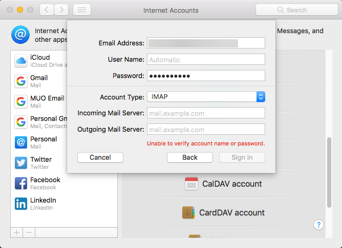 enter email info manually mac