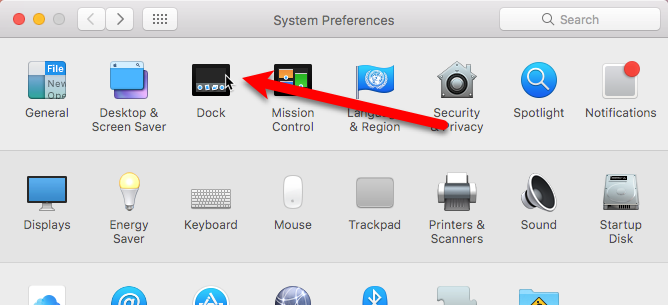 click dock in system preferences mac