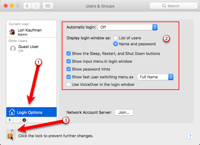 lock prevent further changes system preferences