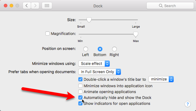 automatically hide and show dock mac