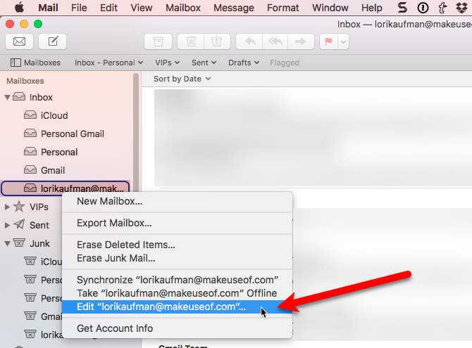 select edit for email address mac
