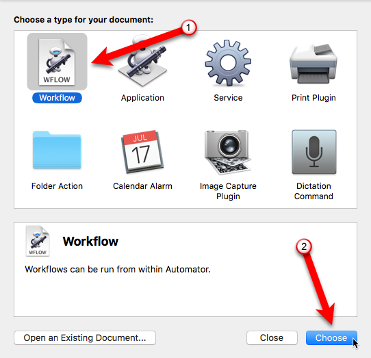 click workflow then choose automator mac