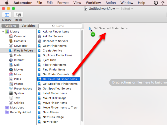 drag get selected finder items automator mac