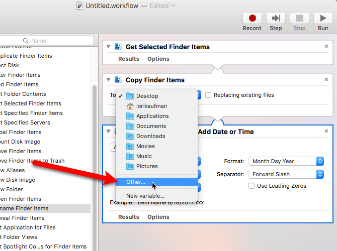 select other for folder automator mac