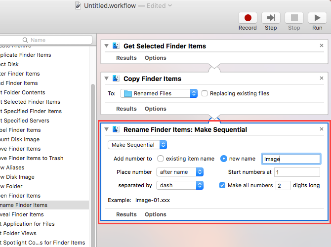 rename finder items options automator mac