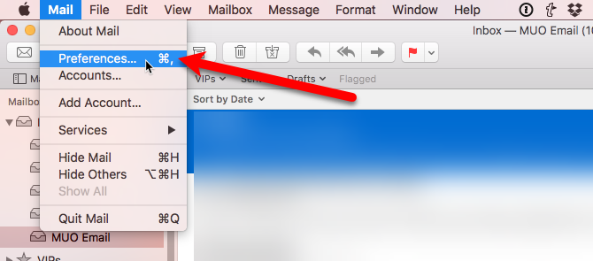 select preferences from mail menu mac