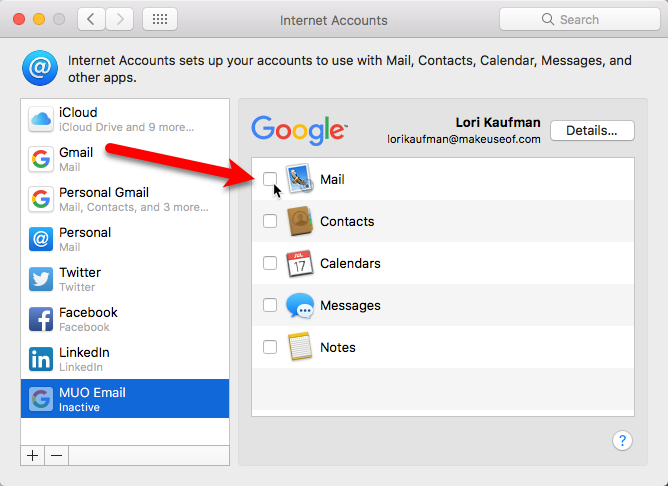 uncheck mail to make email account inactive mac