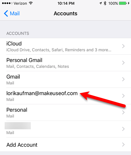 tap new email address ios