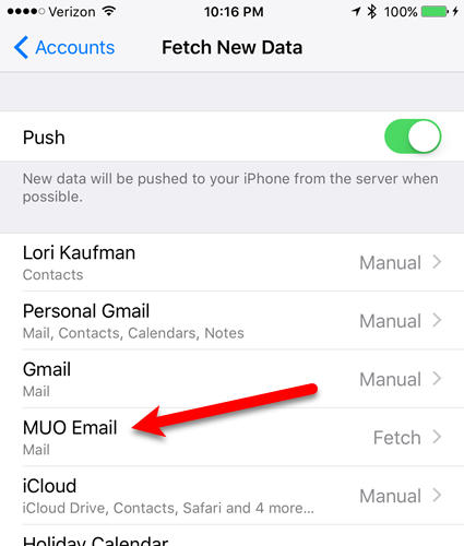 tap new email on fetch new data screen ios