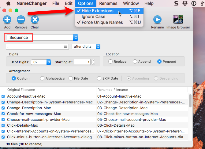 use sequence namechanger mac