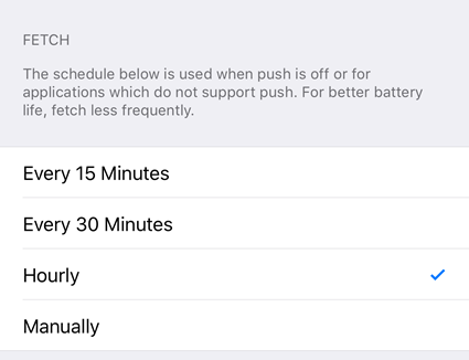select fetch frequency ios