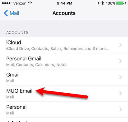 tap on email account to delete ios