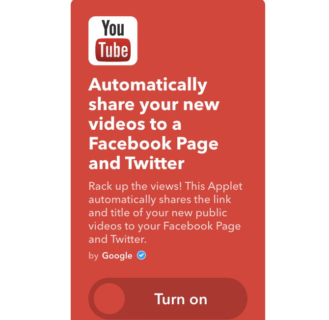 youtube ifttt share to twitter and facebook