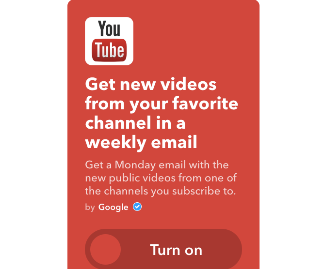 youtube ifttt new channel videos to weekly email
