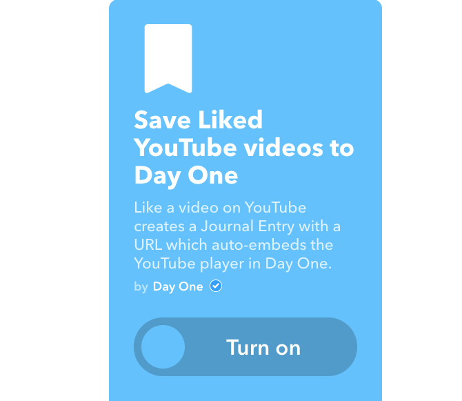 youtube ifttt liked videos to day one