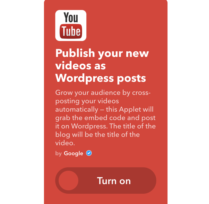 youtube ifttt new videos as wordpress posts