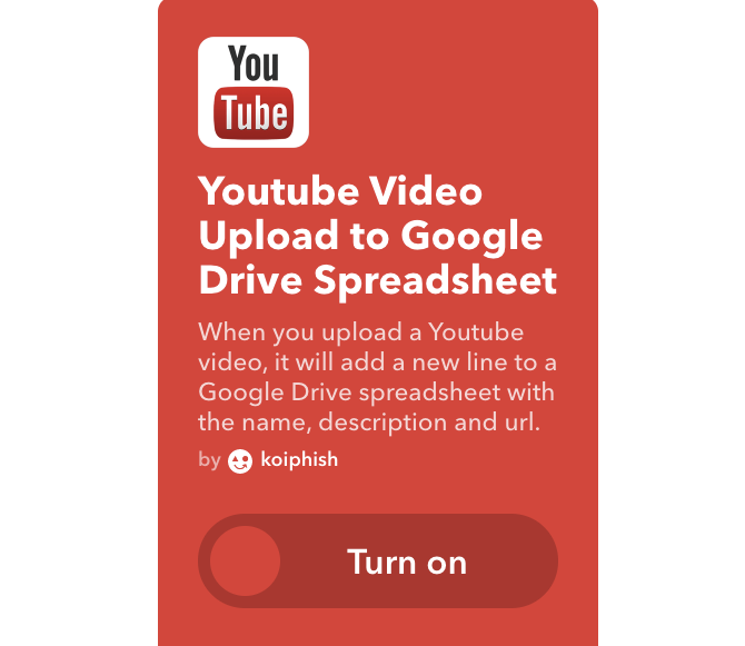 youtube ifttt record videos google sheet