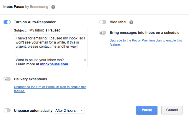 Make Gmail Less Distracting by Pausing Incoming Emails for a Duration of Time Boomerang Pause 2