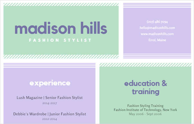 canva fashion stylist resume template