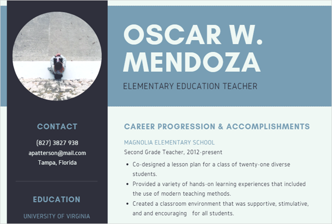 simple teacher canva resume template