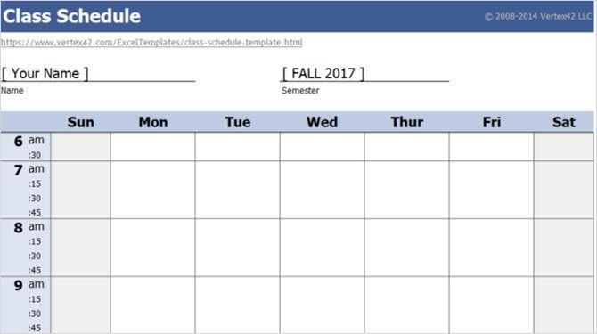 class schedule vertex42