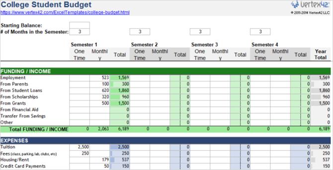 college student budget vertex42