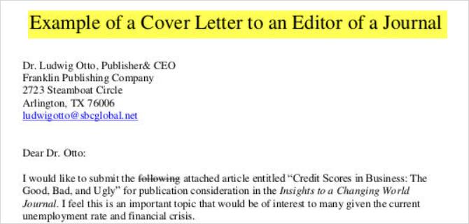 cover letter template sample