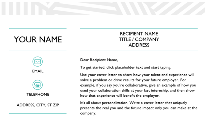 cover letter template creative office