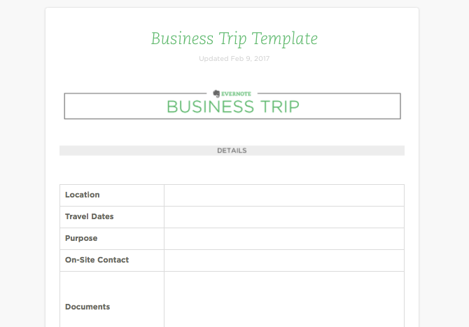 evernote template