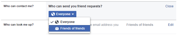 Facebook Who can send you friend requests?