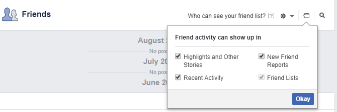 Facebook Friend activity can show up in... menu
