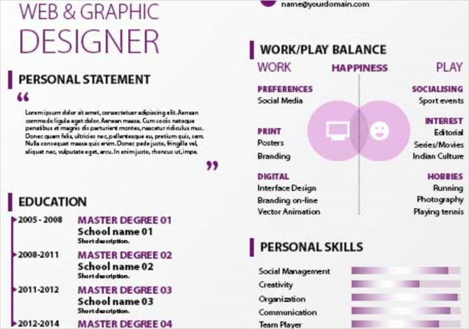 freepik purple curriculum vitae resume template