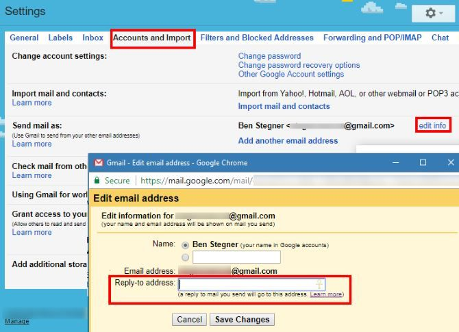 How to Receive Email Replies at Another Address Gmail Alternate Reply to Address