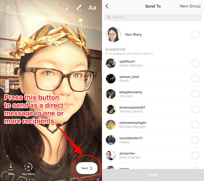 instagram story send message