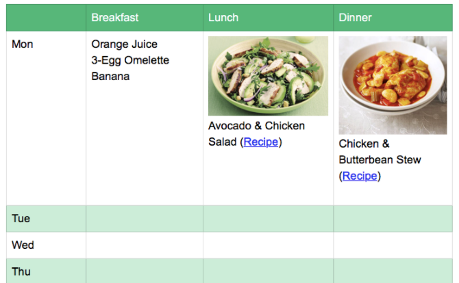 meal planner evernote