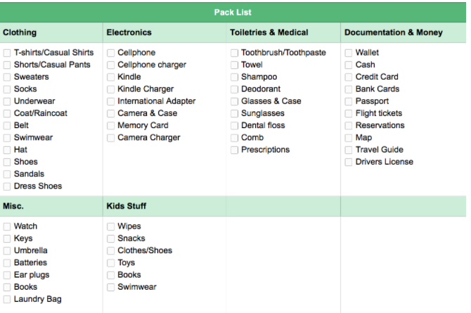 evernote pack list
