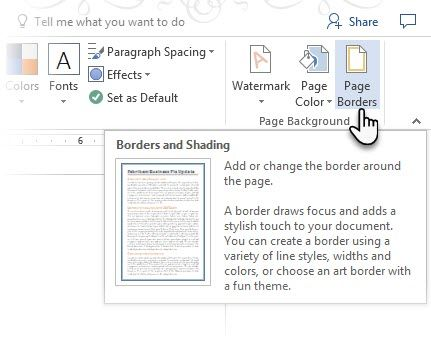 How To Create Professional Reports And Documents In Microsoft Word Page Borders