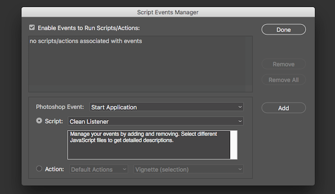 scripts event manager