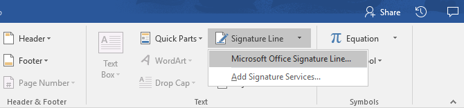 how to create signature on word