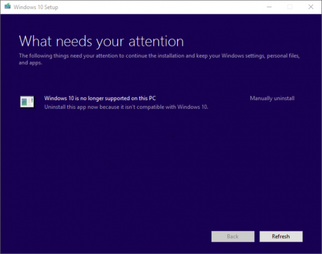windows 10 no longer supported