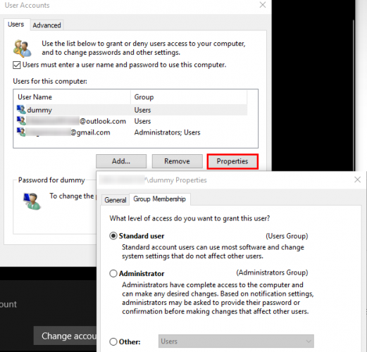 windows user accounts panel