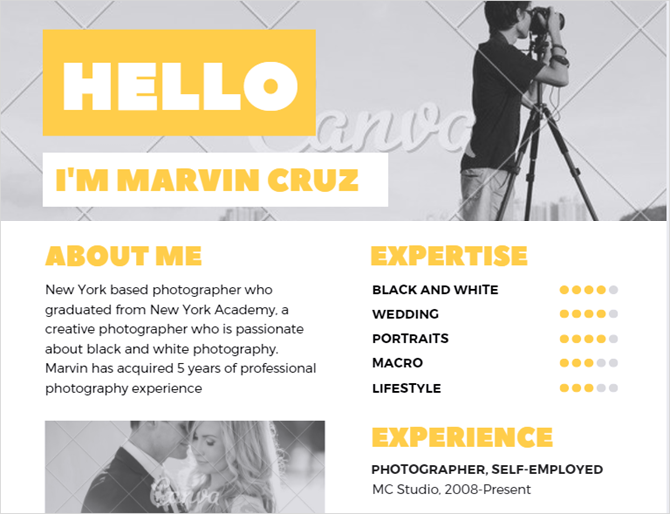 yellow photographer creative resume template