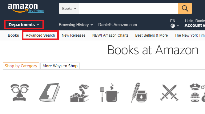 amazon advanced search