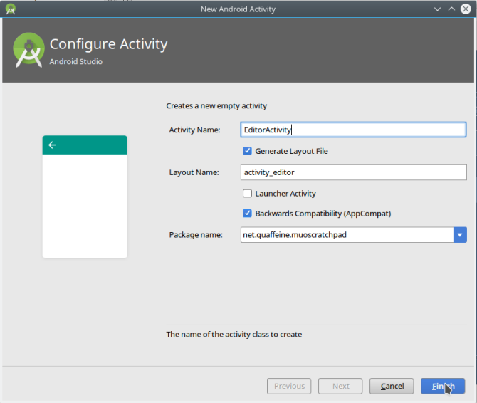 android create app androidstudio newactivity