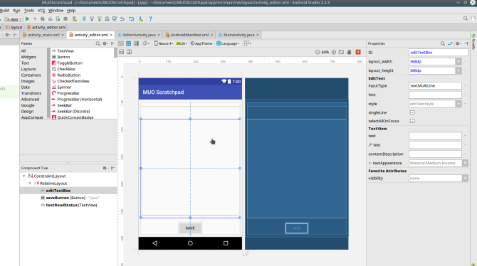 android create app androidstudio screen2 layout