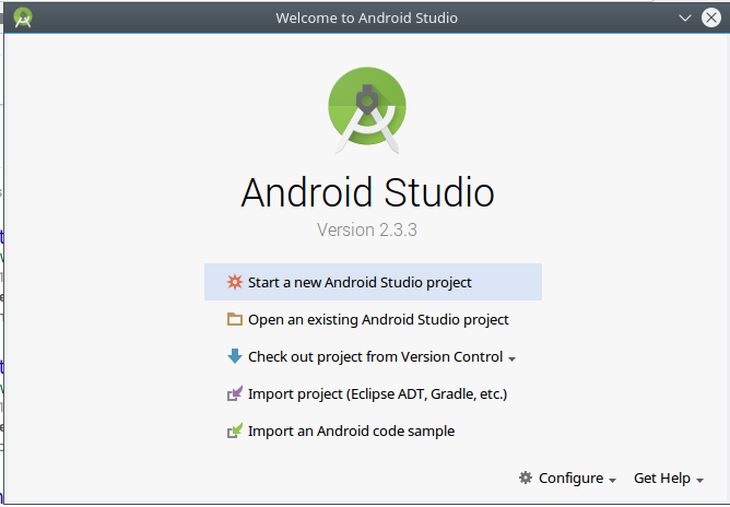 android create app androidstudio start