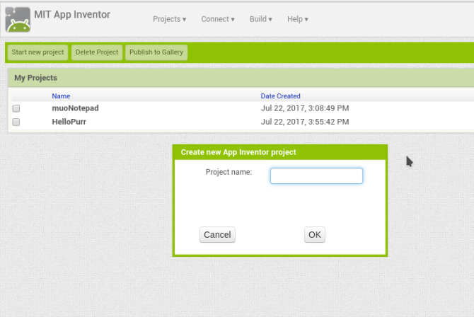 android create app appinventor newproject name