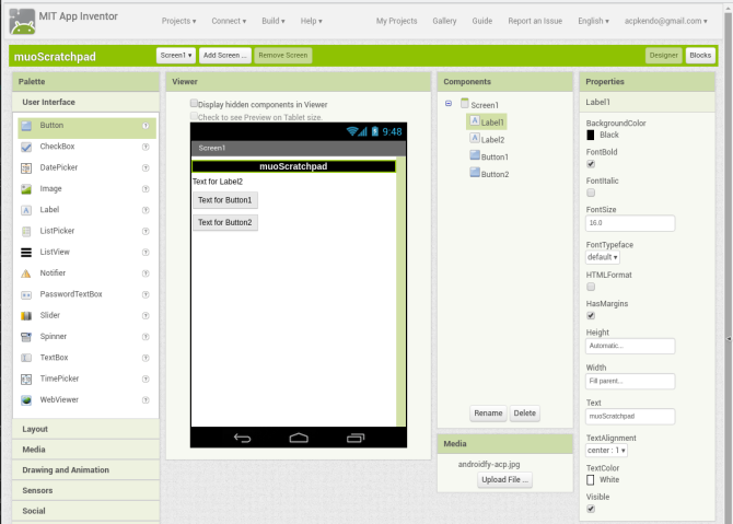 android create app appinventor screen1 labelconfig