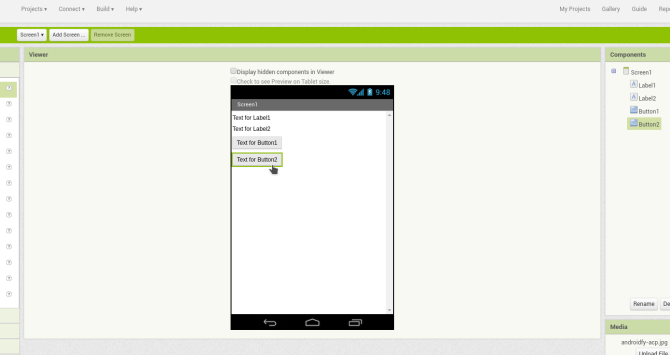 android create app appinventor screen1 widgets